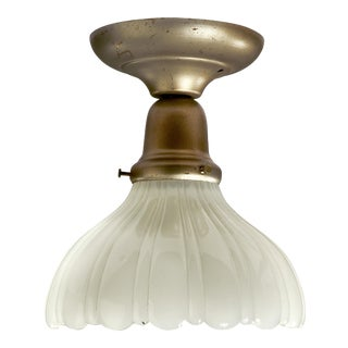 Vintage Flush Mount Fixture With Antique Scalloped and Ribbed Galls Bowl Style Shade For Sale