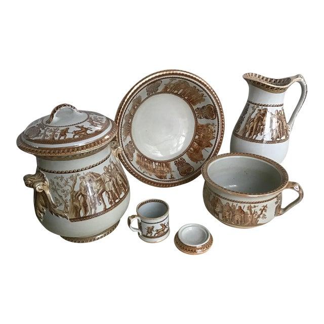 1800s Greek Roman Emperor Chamber Pot Pitcher Bathroom Set - 7 Pieces For Sale