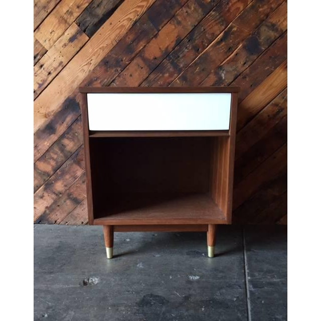Mid-Century Walnut & White Lacquer Nightstand - Image 2 of 7