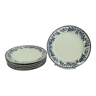 Vintage Mid 20th Century Nippon Royal Sometuke Blue & White Dessert Plates - Set of 6 For Sale