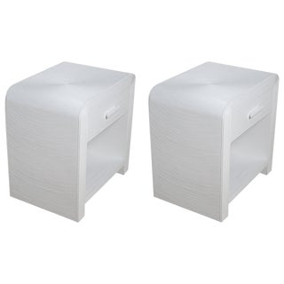 Pair of White Lacquered 1970s Crespi Style Split Bamboo Nightstands For Sale