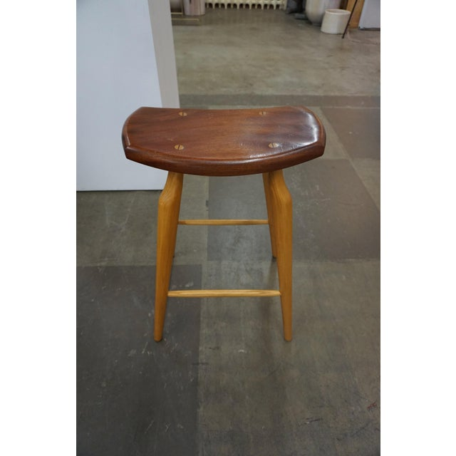 Brown Set of 4 Mixed Wood Barstools For Sale - Image 8 of 10