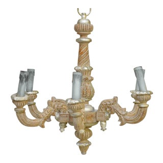 Antique Gilt Polychrome Italian Carved Wood Chandelier