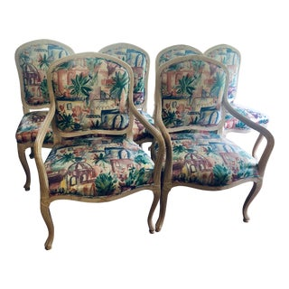 1980s Vintage Vinyl and Wood Art Deco Faux Bois Dining Chairs- Set of 6 For Sale