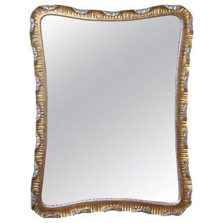 Dorothy Draper Style Scalloped Giltwood Silver Gold Italian Wall Mirror