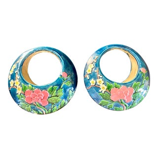 Hanging Floral Asian Majolica Planters- a Pair For Sale