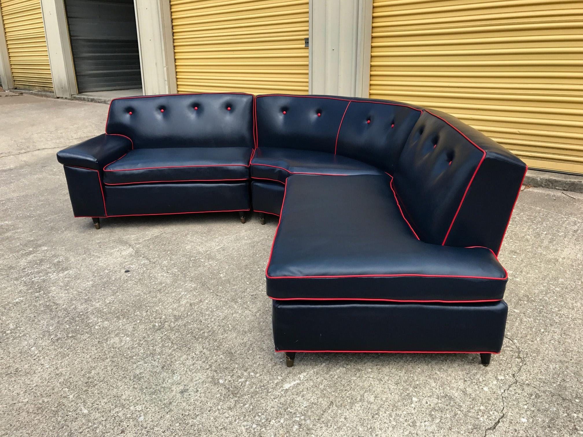 Kroehler Mid Century Navy Blue Sectional Sofa   Image 2 Of 11