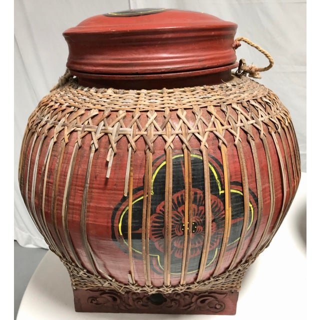 Early 20th Century Early 20th Century Vintage Asian Paper Mâché Coated Rattan Storage Containers- A Pair For Sale - Image 5 of 11