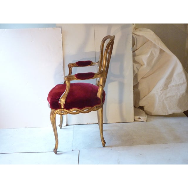 Red Early 20th Century Vintage French Ribbon Back Giltwood Armchairs- A Pair For Sale - Image 8 of 11