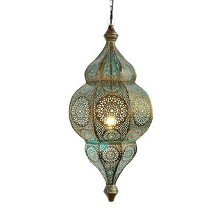 Moorish Brass Blue Lantern For Sale