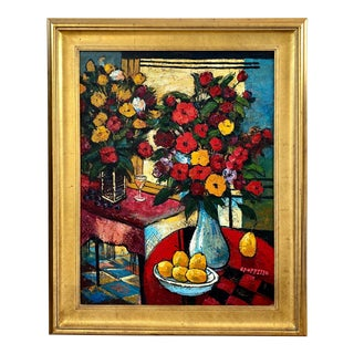 Contemporary Fruit and Floral Still Life Oil Painting Signed G. Poppitto, Framed For Sale