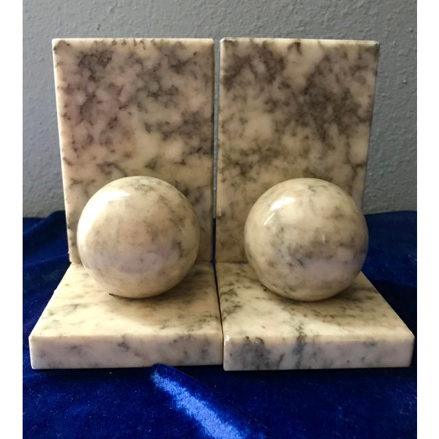 Tan Vintage Himark Italian Marble Geometric Ball Classic Bookends - Pair For Sale - Image 8 of 8