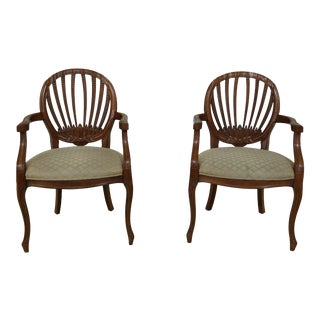 Pair Century French Style Open Arm Chairs For Sale
