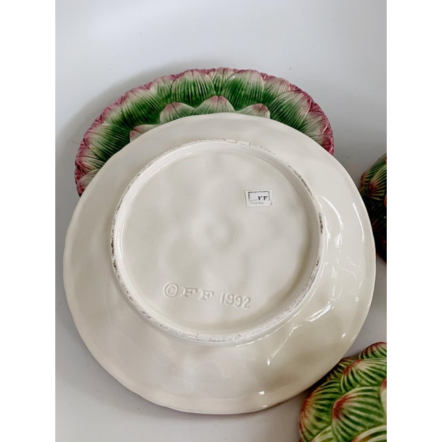 Fitz and Floyd Artichoke Ceramic Serving Bowls and Plates Set - 6 Pieces For Sale - Image 10 of 13
