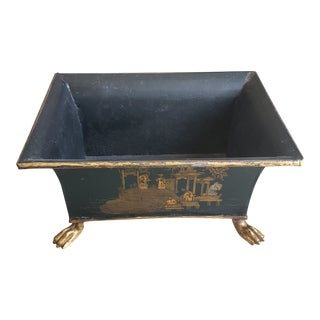 Handcrafted Green Planter With Brass Feet For Sale