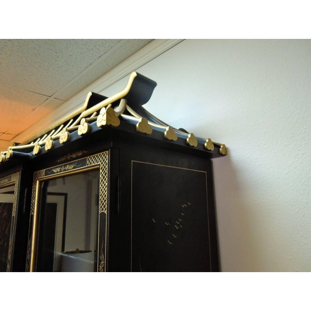 Mid 20th Century Very Chic 20th Century Chinoiserie Pagoda Glass Front Cabinet For Sale - Image 5 of 10