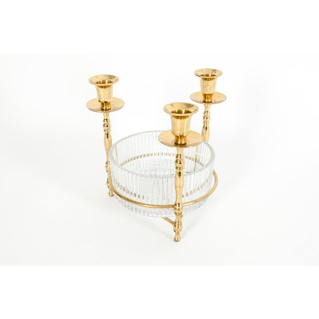 Cut Crystal / Gilt Brass Holding Candlestick Decorative Piece For Sale - Image 10 of 13