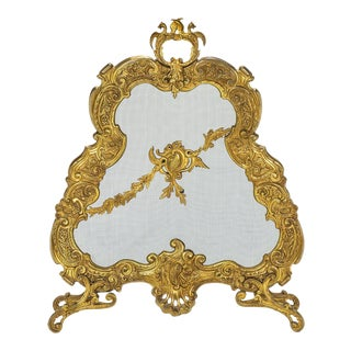 Firescreen, 19th Century French Gilt Bronze For Sale