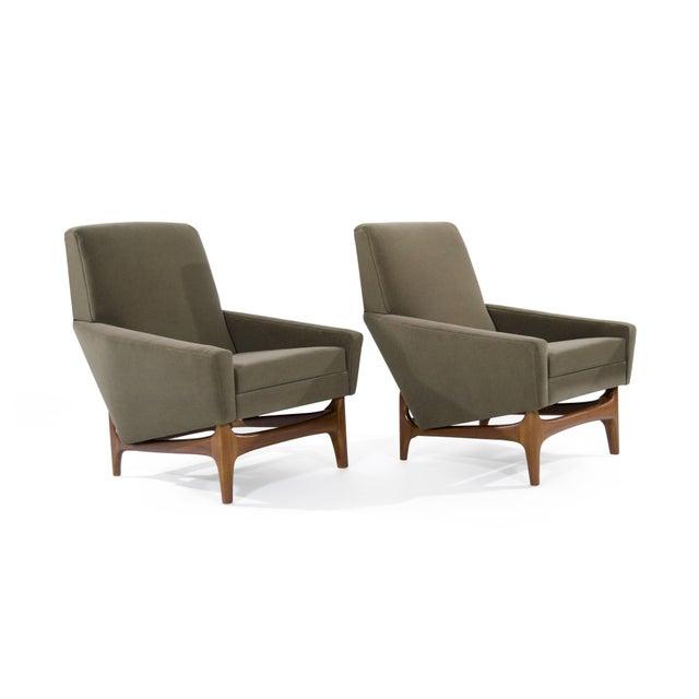 Scandinavian Modern Olive Velvet on Sculptural Teak Base Lounge Chairs - a Pair For Sale - Image 4 of 11
