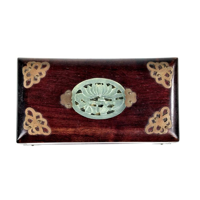 Mid-Century Modern 1920s Chinese Jade & Rosewood Cigarette Box For Sale - Image 3 of 13