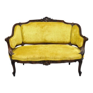 Antique French Louis XV Style Finely Carved Mahogany Settee Loveseat For Sale