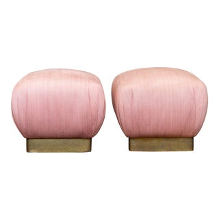 1980's Pink Marge Carson Pouf Ottomans - a Pair For Sale
