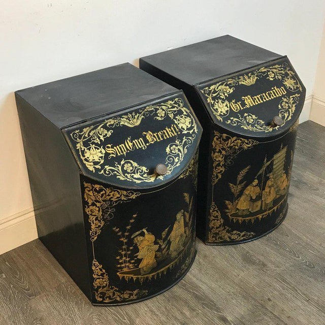 19th Century Pair of Antique Chinoiserie Tole Floor Model Tea Canisters by Henry Thoemner For Sale - Image 5 of 13