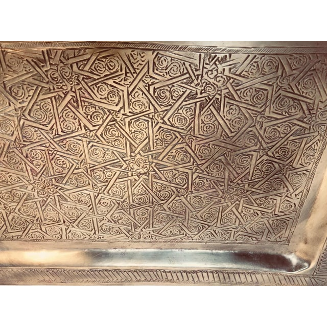 1950s Spanish Moorish Rectangular Brass Tray For Sale - Image 5 of 12