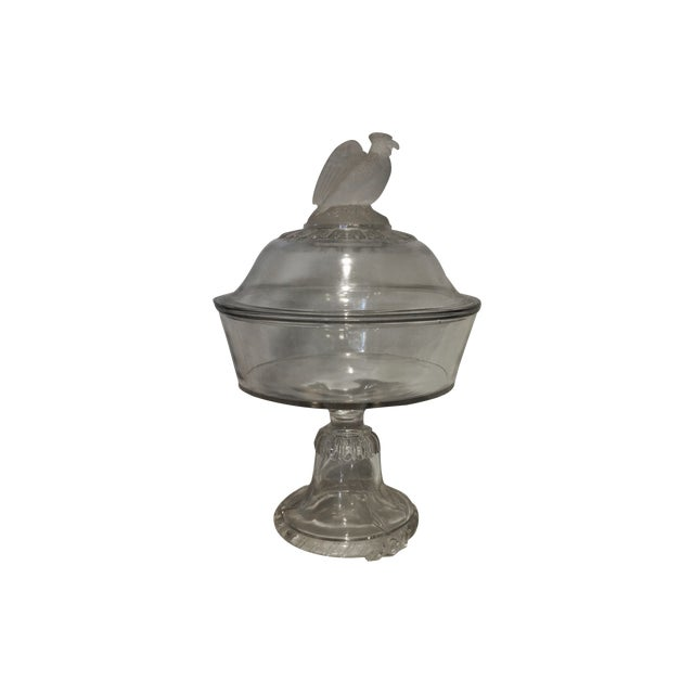 American Frosted Eagle Glass Lidded Compote - Image 1 of 7