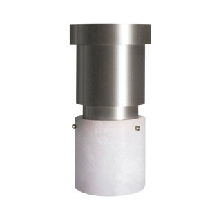Modern Contemporary 000 Flush Mount in Nickel and Alabaster by Orphan Work For Sale