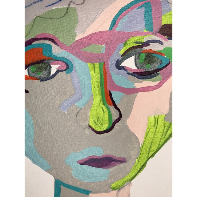 """Contemporary Abstract Portrait Painting """"From Another Perspective, No. 2"""" - Framed For Sale - Image 4 of 11"""