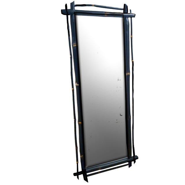 Black 1980s Rustic Ebonized Bamboo Pier Mirror For Sale - Image 8 of 8