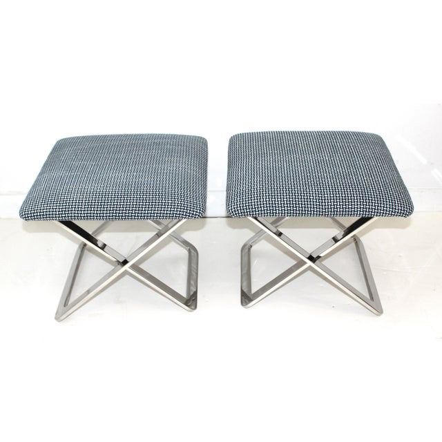 Milo Baughman Mid-Century Modern Milo Baughman Attributed X-Stools - a Pair For Sale - Image 4 of 11