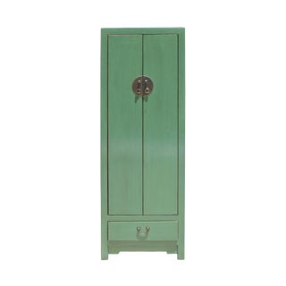 Oriental Distressed Gray Celadon Green Slim Storage Cabinet For Sale
