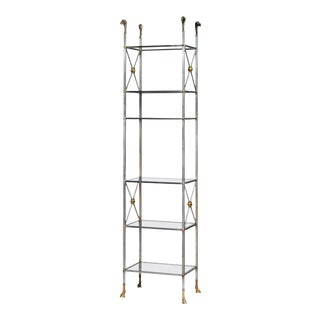 Vintage 1970s Maison Jansen Neoclassic Solid Steel and Brass Six-Tier Etagere or Bookshelf For Sale
