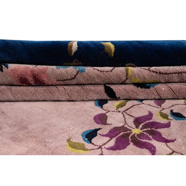 Antique Rose Chinese Art Deco Wool Rug 8 Ft 9 in X 11 Ft 8 In. For Sale - Image 4 of 12