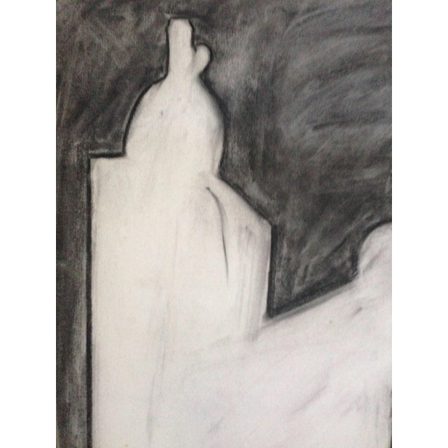 Abstract 1970s Charcoal Abstract Drawing Signed For Sale - Image 3 of 4