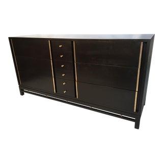 Hollywood Regency Mid Century Black and Brass Ten Drawer Dresser