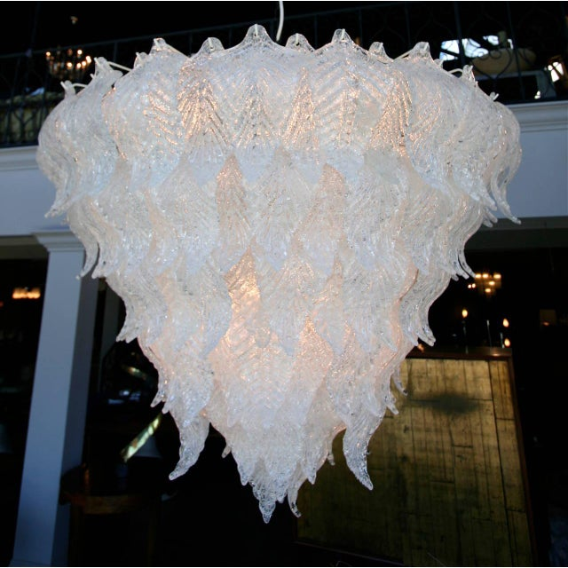 Seguso 1960s Murano Glass Leaf Chandelier in the Style of Seguso For Sale - Image 4 of 6