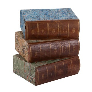Three Brown Book Boxes From England Circa 1900 For Sale