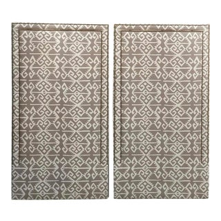 """Custom Manuel Canovas """"Kerala"""" Twin Headboards in Taupe and Ivory - a Pair For Sale"""