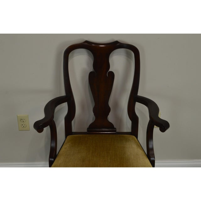1980s Henkel Harris Queen Anne Style Mahogany Pair of Arm Chairs #110a For Sale - Image 5 of 12