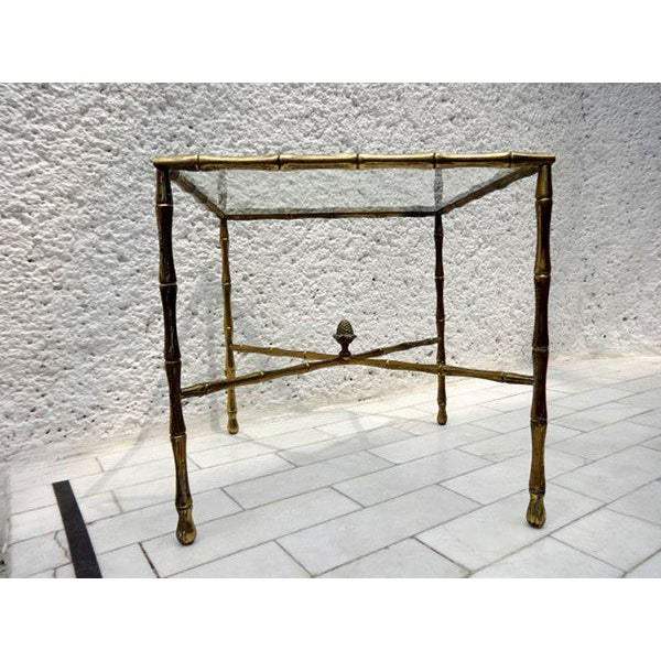 Arturo Pani Custom Faux Bamboo Brass Side Table by Arturo Pani For Sale - Image 4 of 5