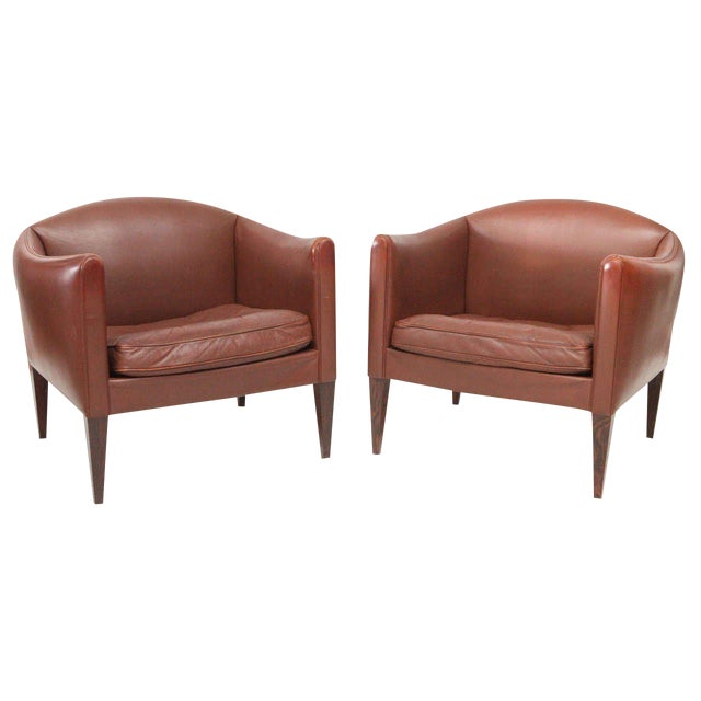 Pair of Illum Wikkelso Leather Lounge Chairs For Sale