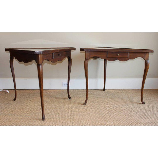 Wood Pair of Mirror Topped Triangular Tables For Sale - Image 7 of 11