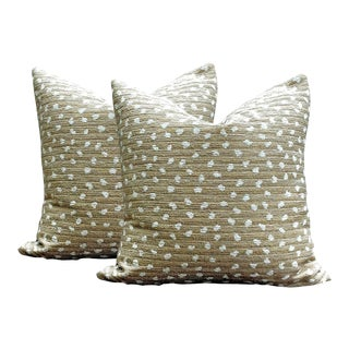 Tan With Ivory Chenille Pillows - a Pair For Sale