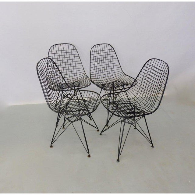 Charles and Ray Eames Eames for Herman Miller DKR Wire Chairs on Eiffel Bases - Set of 4 For Sale - Image 4 of 7