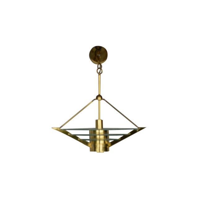 Art Deco Revival Tiered Brass & Glass Chandelier - Image 1 of 5
