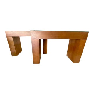 Mid Century Amber Finish Parsons Tables - a Pair For Sale