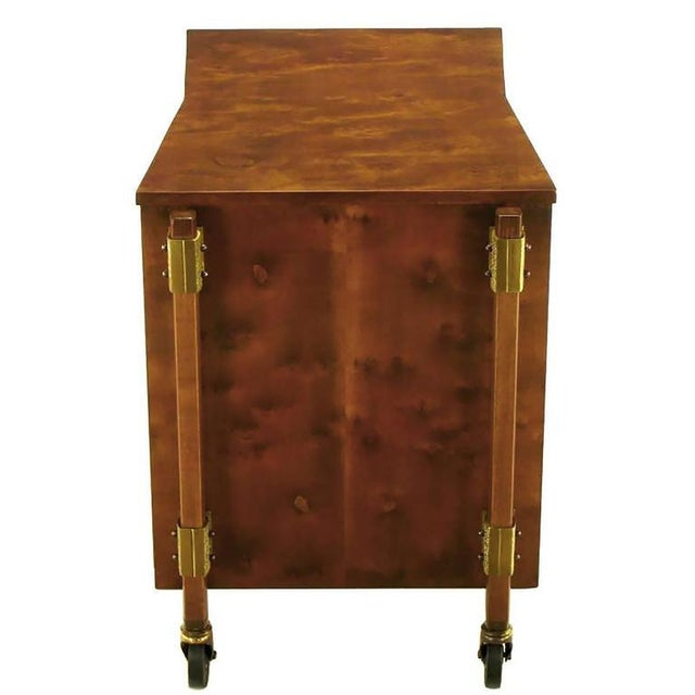 1950s Harold Schwartz Burled Walnut Farfalla-Form Rolling Bar Cart For Sale - Image 5 of 11